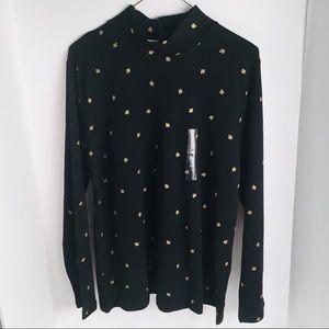 Karen Scott Crew Neck Sweater NWT L Black and Gold